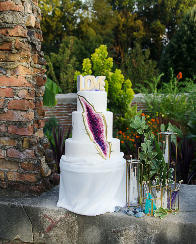 Geode rock candy wedding cake inspiration